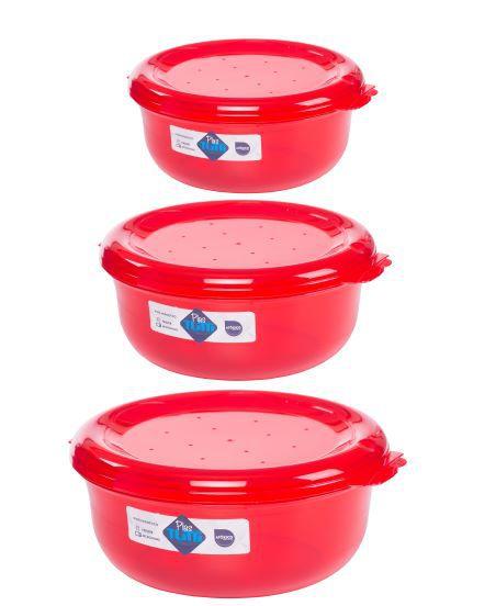Jogo de Potes De Plástico Redondos 3 Peças Super Resistentes Plastutti - Vermelho