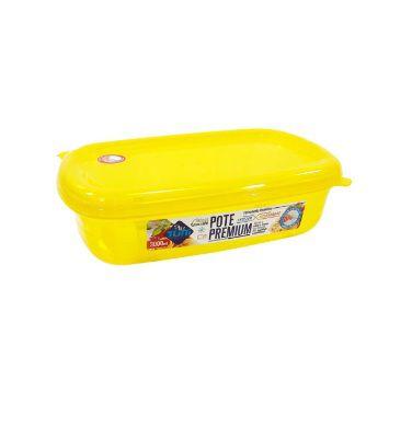 Jogo de Potes De Plástico Retangulares 3 Peças Super Resistentes Plastutti - Amarelo