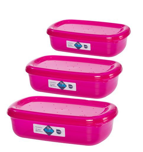 Jogo de Potes De Plástico Retangulares 3 Peças Super Resistentes Plastutti - Rosa