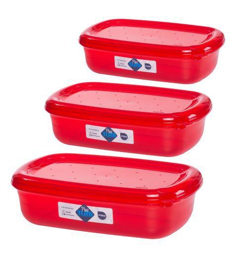 Jogo de Potes De Plástico Retangulares 3 Peças Super Resistentes Plastutti - Vermelho