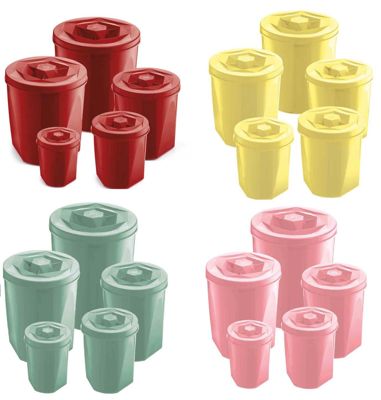 Jogo de Potes Multiuso Porta Mantimentos 5 Peças Plástico UZ