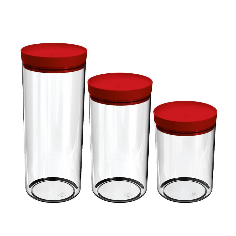 Jogo de Potes Porta Mantimentos 3 Peças Acrílico UZ Vermelho