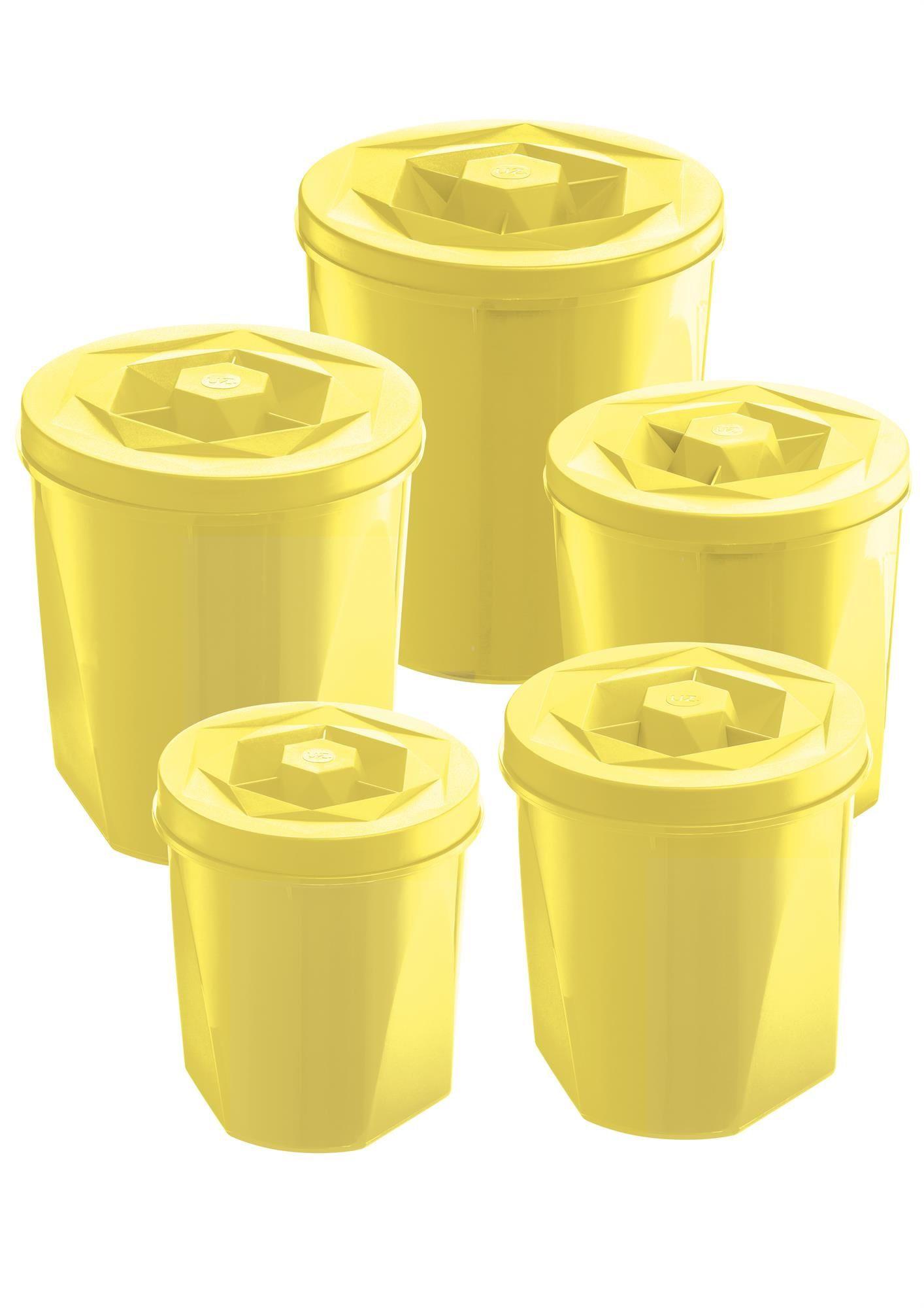 Jogo de Potes Porta Mantimentos 5 Peças Plástico Color Com Tampa de Rosca UZ Utilidades Amarelo