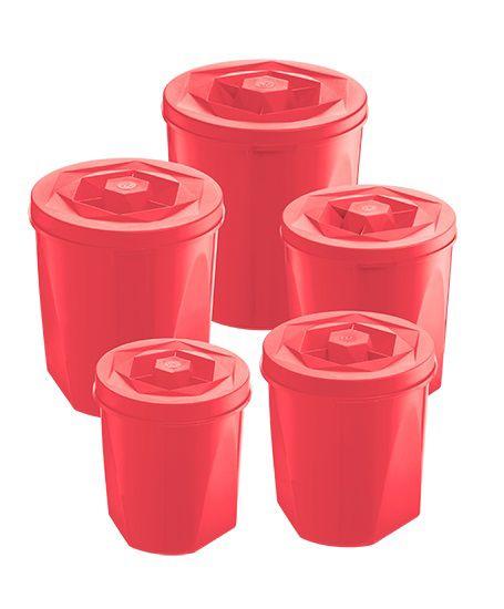 Jogo de Potes Porta Mantimentos 5 Peças Plástico Color Com Tampa de Rosca UZ Utilidades Coral