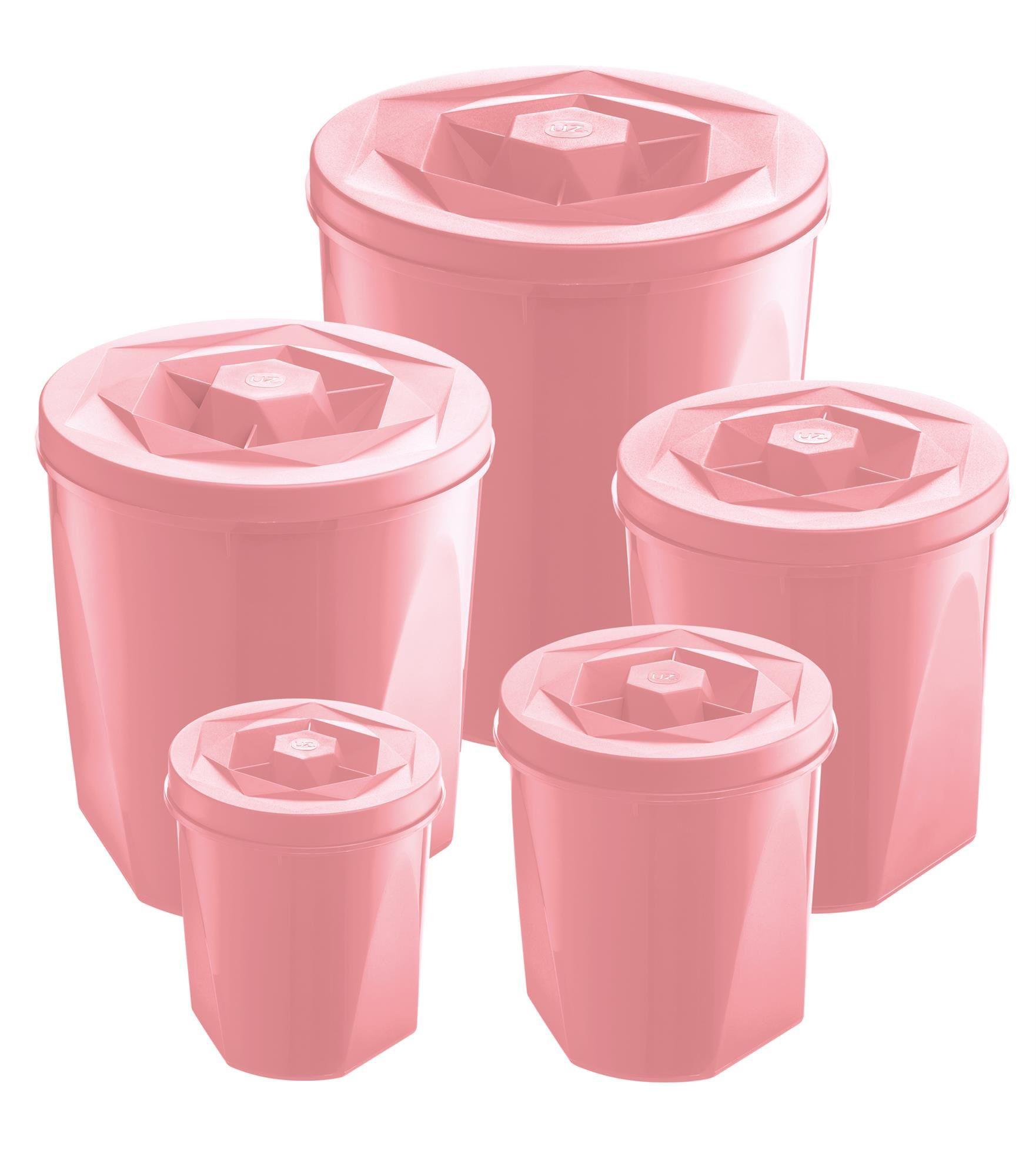 Jogo de Potes Porta Mantimentos 5 Peças Plástico Color Com Tampa de Rosca UZ Utilidades Rosa