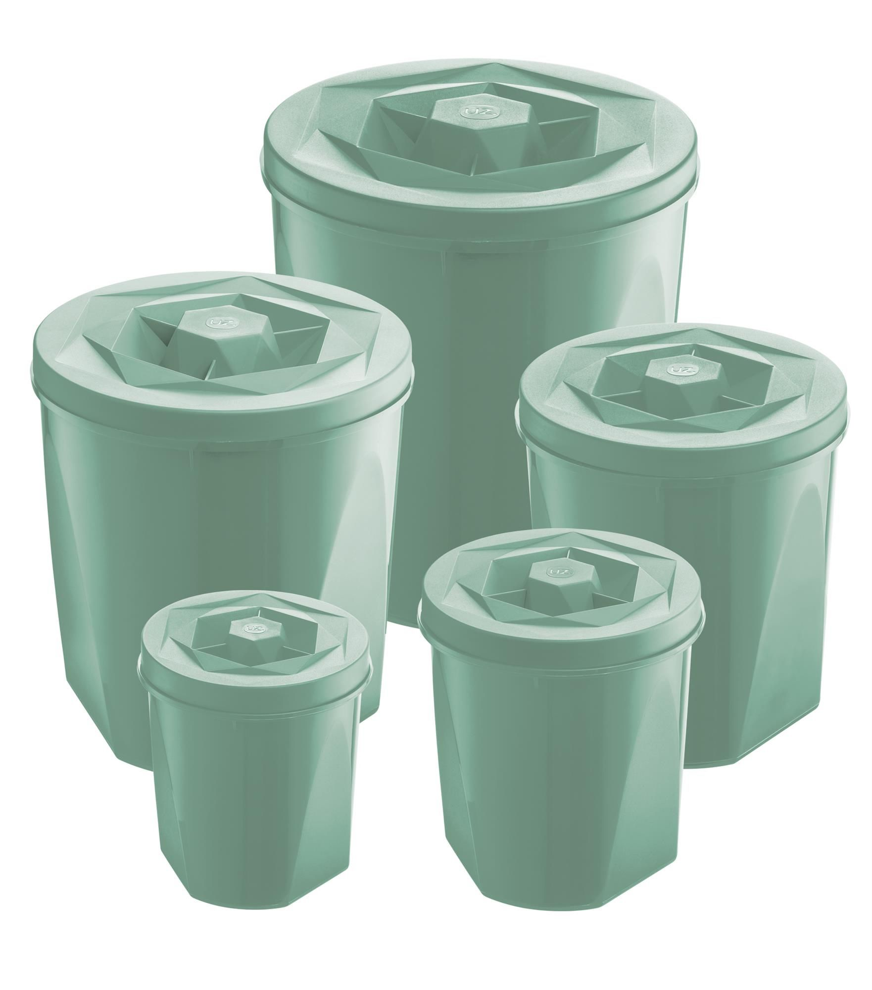Jogo de Potes Porta Mantimentos 5 Peças Plástico Color Com Tampa de Rosca UZ Utilidades Verde