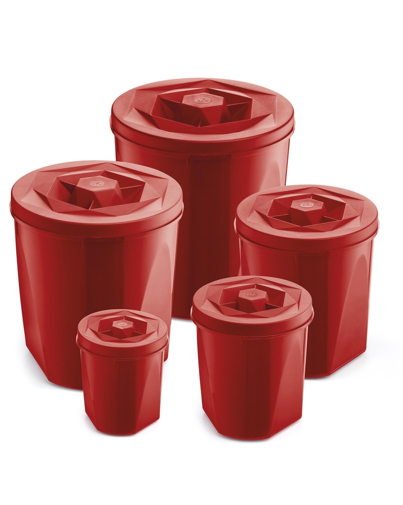 Jogo de Potes Porta Mantimentos 5 Peças Plástico Color Com Tampa de Rosca UZ Utilidades Vermelho