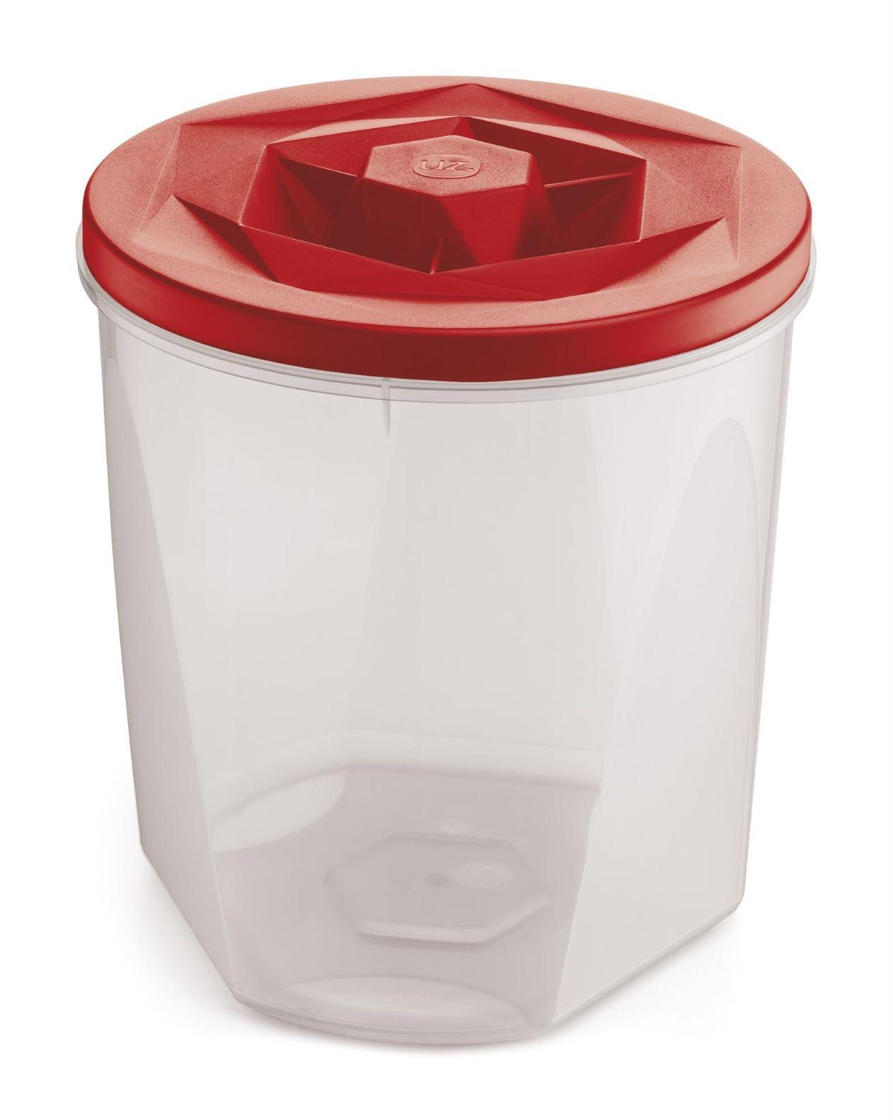Jogo de Potes Porta Mantimentos 5 Peças Plástico Vision Com Tampa de Rosca UZ Utilidades - Vermelho