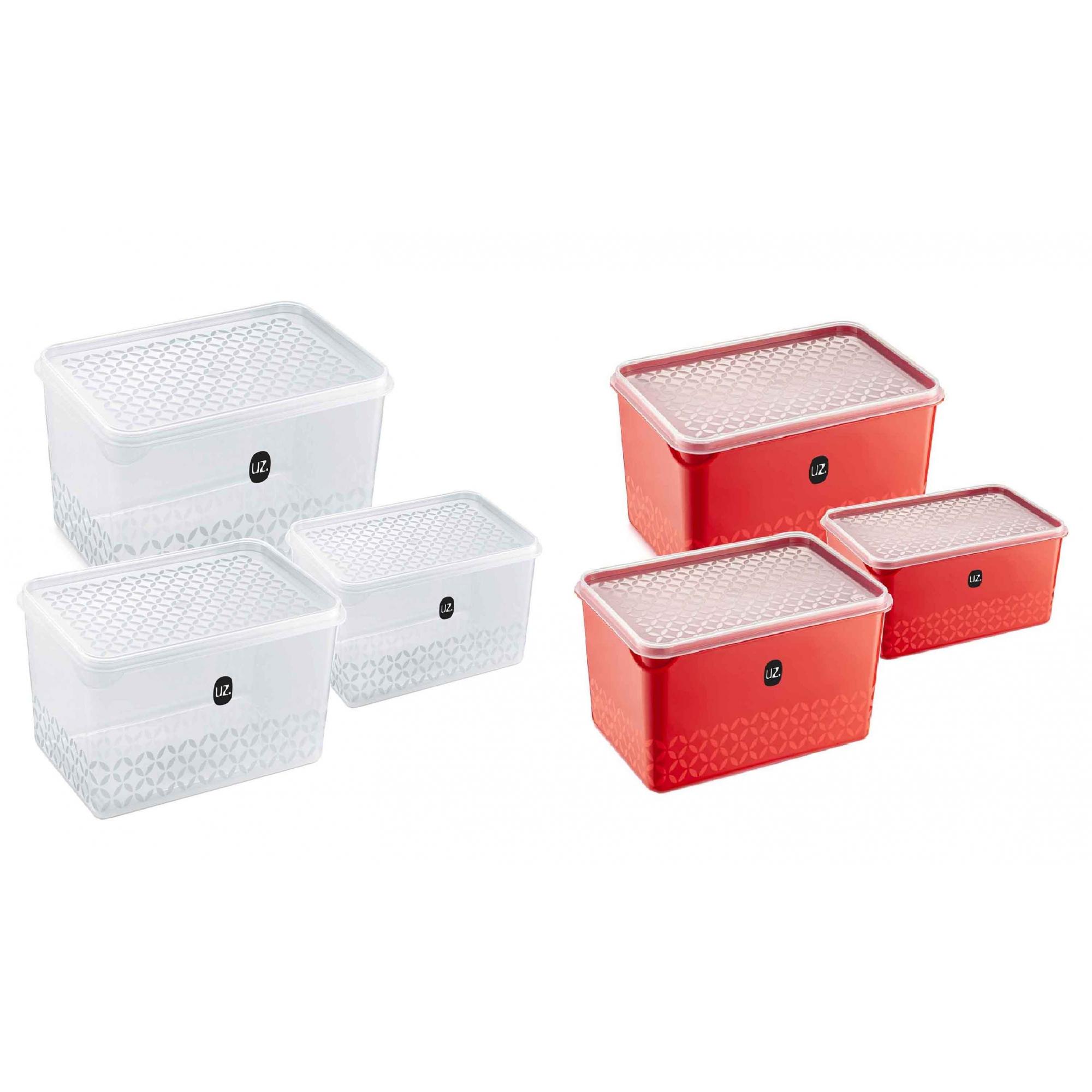 Jogo de Potes Porta Mantimentos Quadrado Plástico 3 Peças UZ