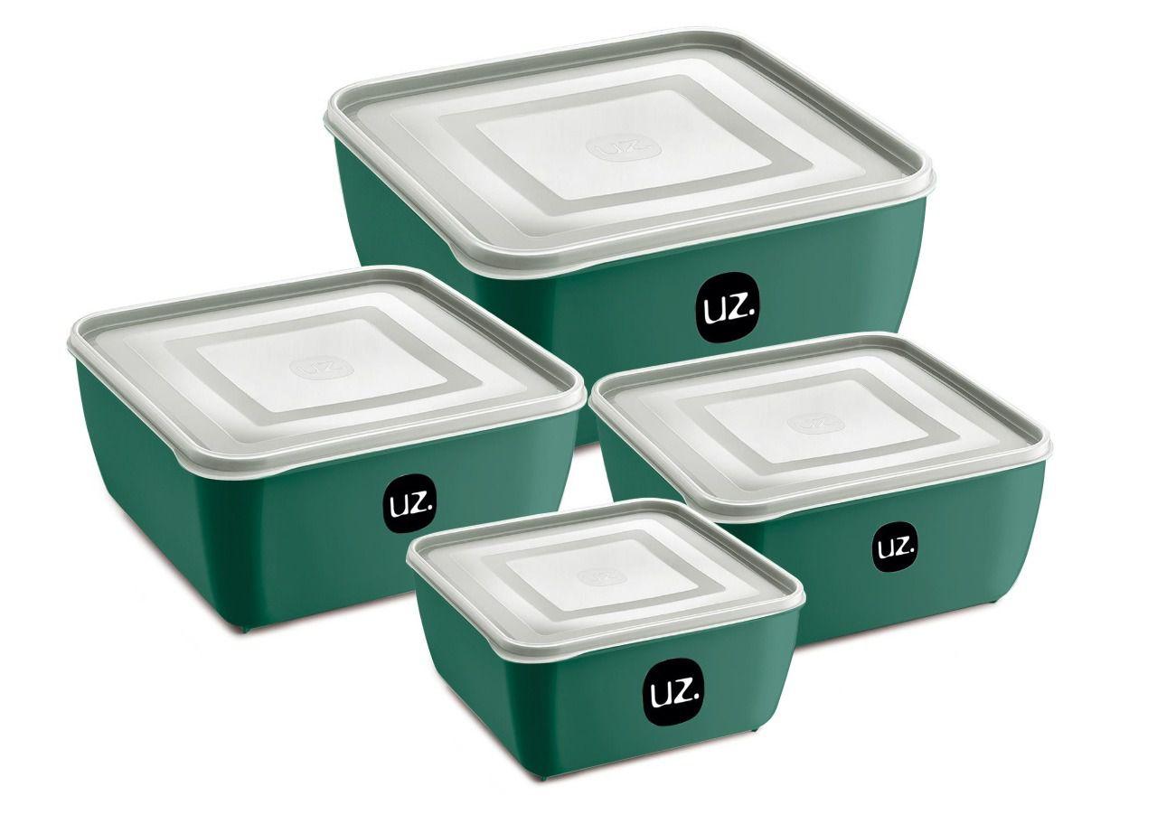 Jogo de Potes Porta Mantimentos Quadrado Premium Plástico 4 Peças UZ Verde