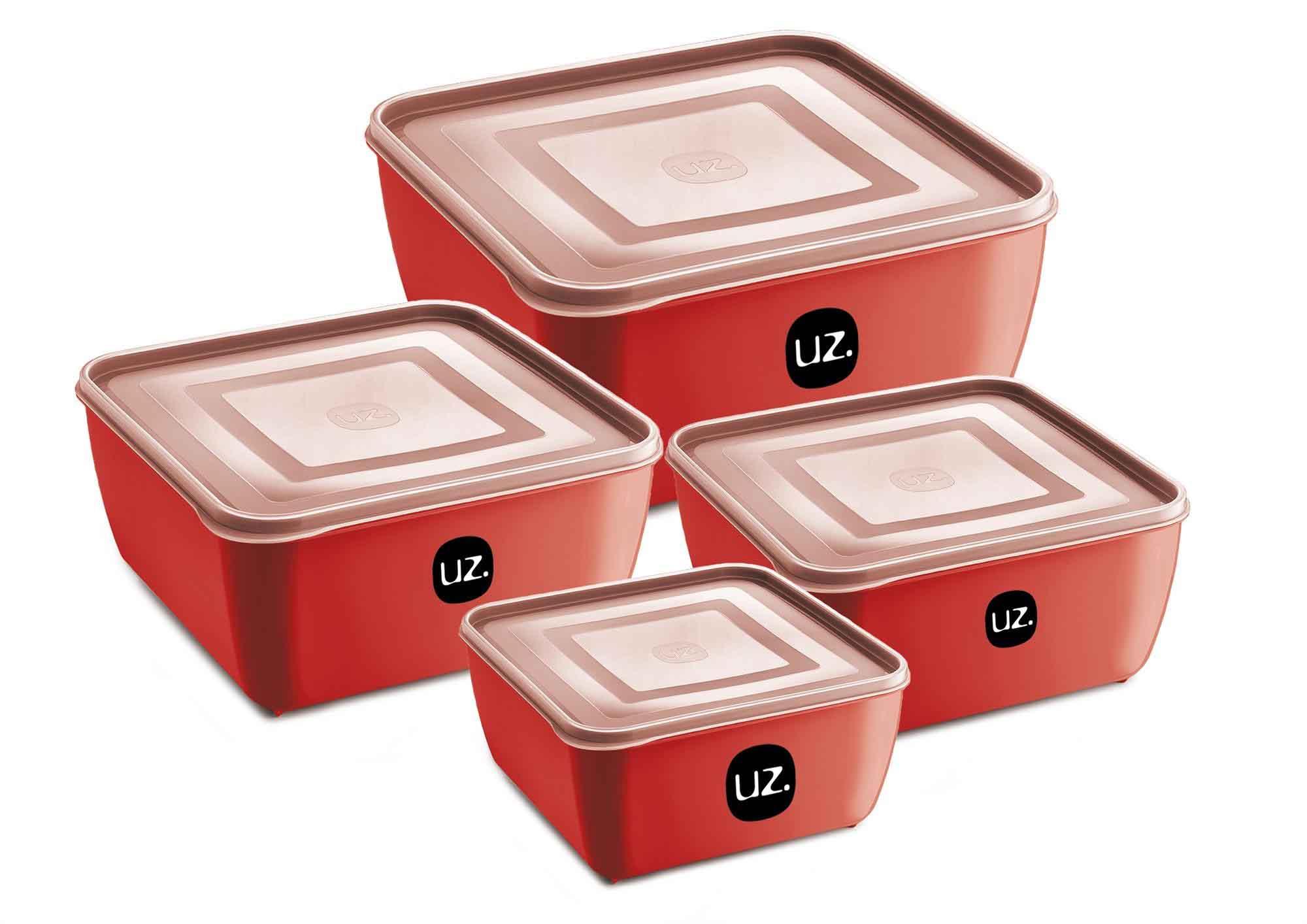 Jogo de Potes Porta Mantimentos Quadrado Premium Plástico 4 Peças UZ Vermelho