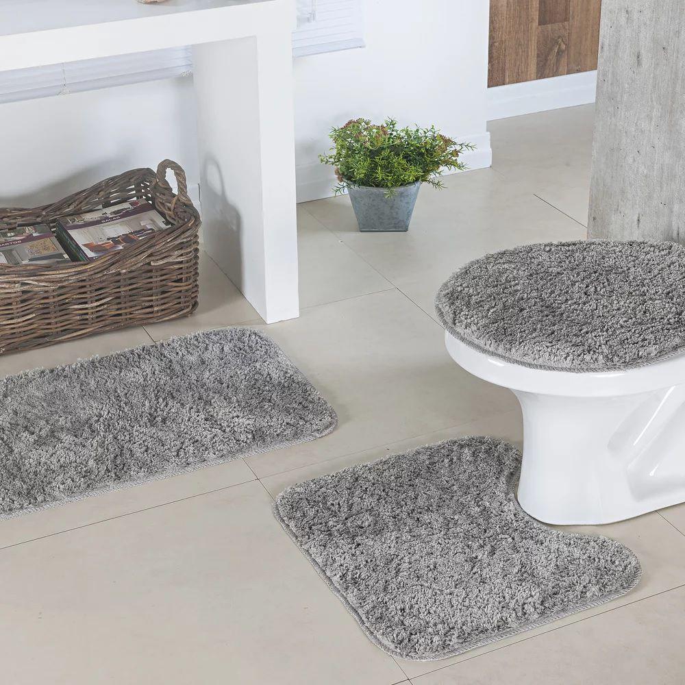 Jogo De Tapetes Para Banheiro 3 Peças Classic Oasis Cinza