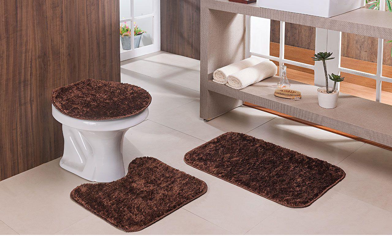 Jogo De Tapetes Para Banheiro 3 Peças Classic Oasis Marrom