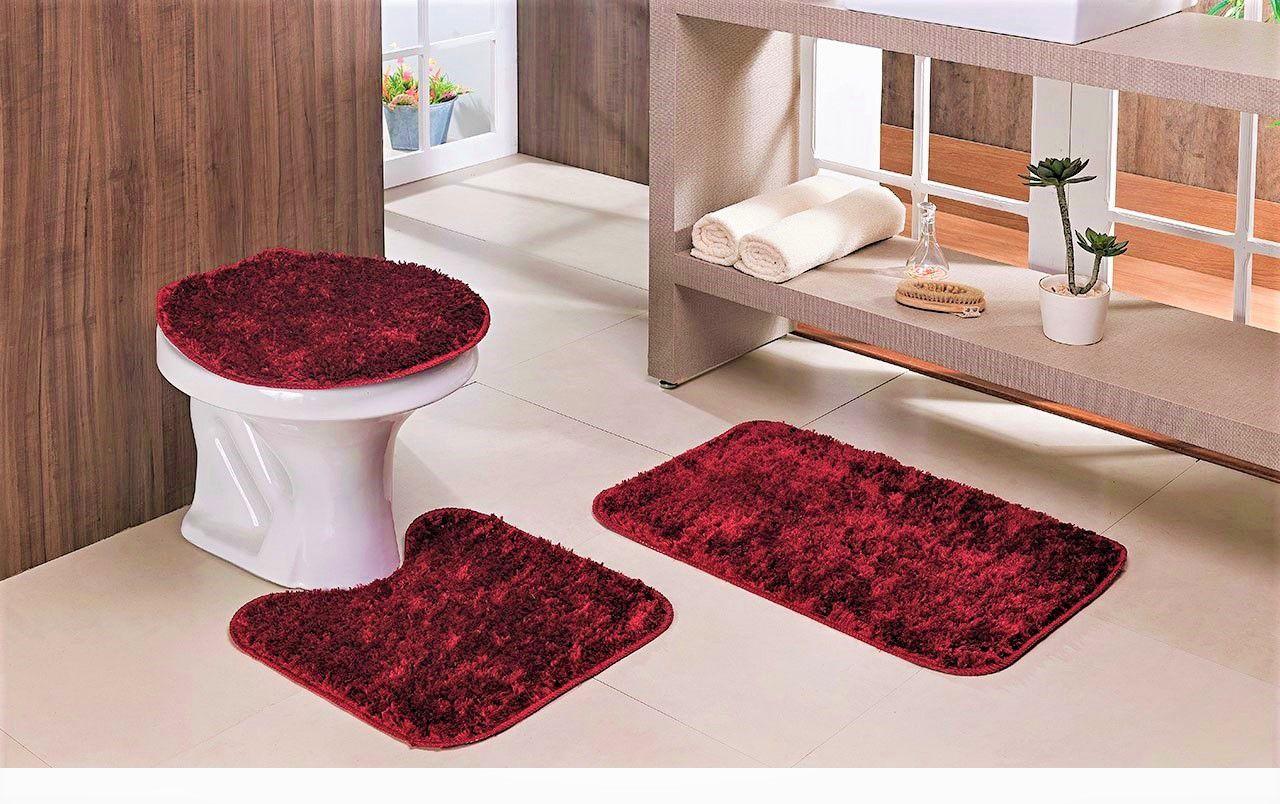 Jogo De Tapetes Para Banheiro 3 Peças Classic Oasis Vermelho