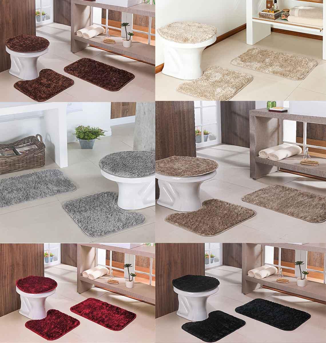 Jogo de Tapetes Para Banheiro 3 Peças Oasis Varias Cores