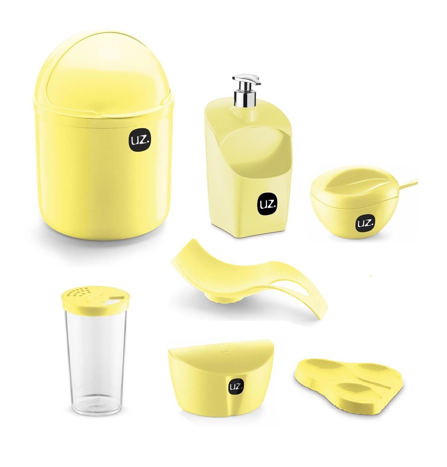Jogo de Utensílios Para Cozinha 7 peças Com Porta Detergente Saleiro e Lixeira de Pia UZ Amarelo