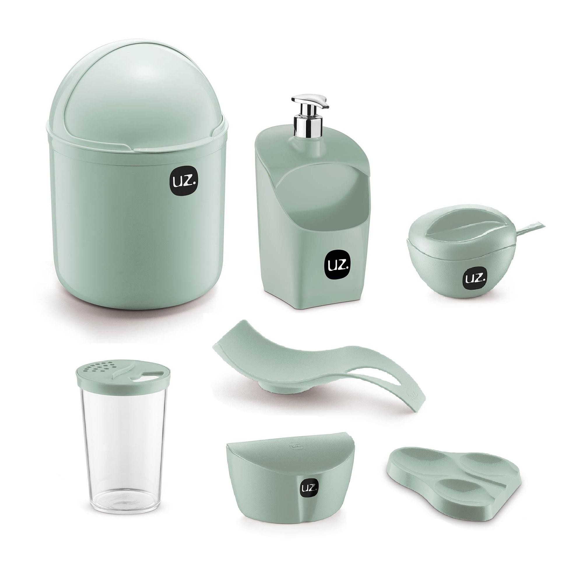 Jogo de Utensílios Para Cozinha 7 peças Com Porta Detergente Saleiro e Lixeira de Pia UZ Verde Menta
