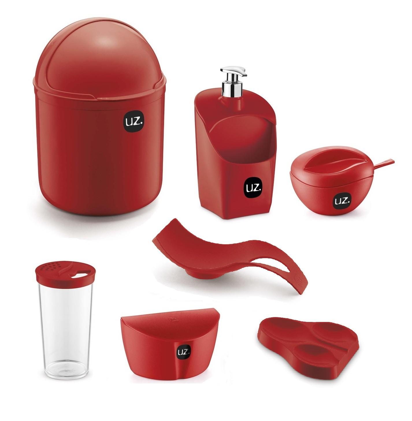 Jogo de Utensílios Para Cozinha 7 peças Com Porta Detergente Saleiro e Lixeira de Pia UZ Vermelho
