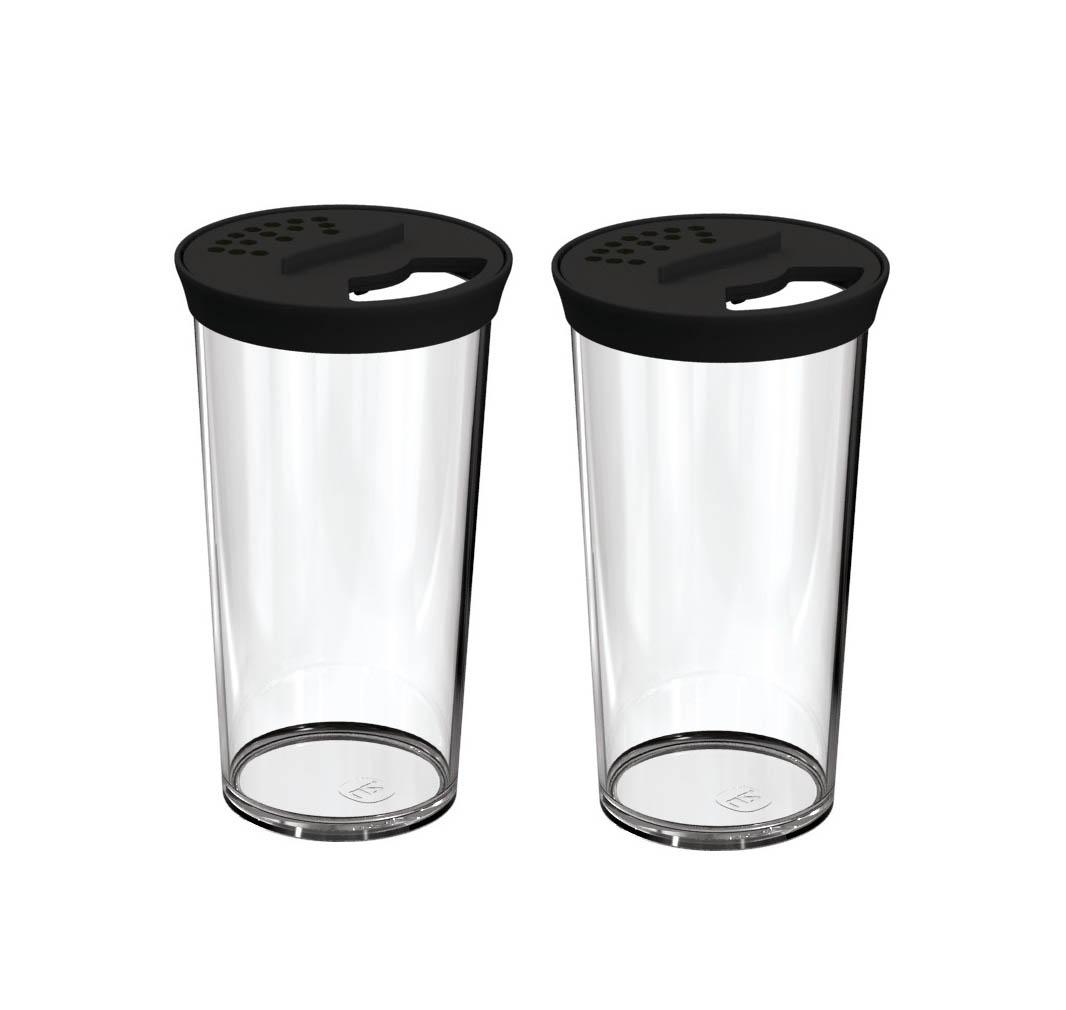 Kit 2 Farinheiros Porta Condimentos 500ml Plástico Uz Preto