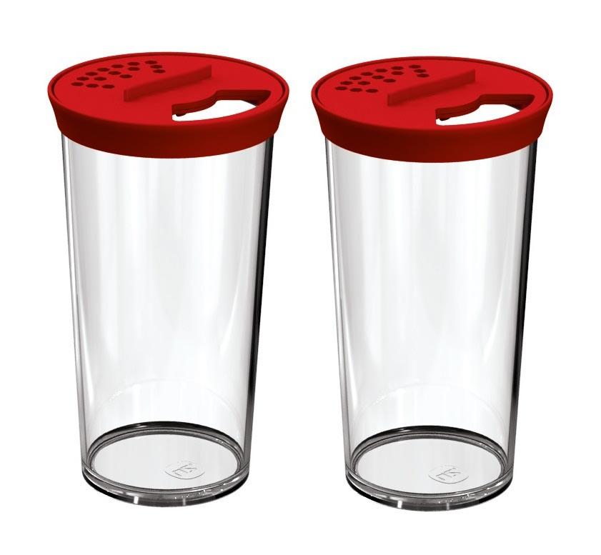 Kit 2 Farinheiros Porta Condimentos 500ml Plástico Uz Vermelho