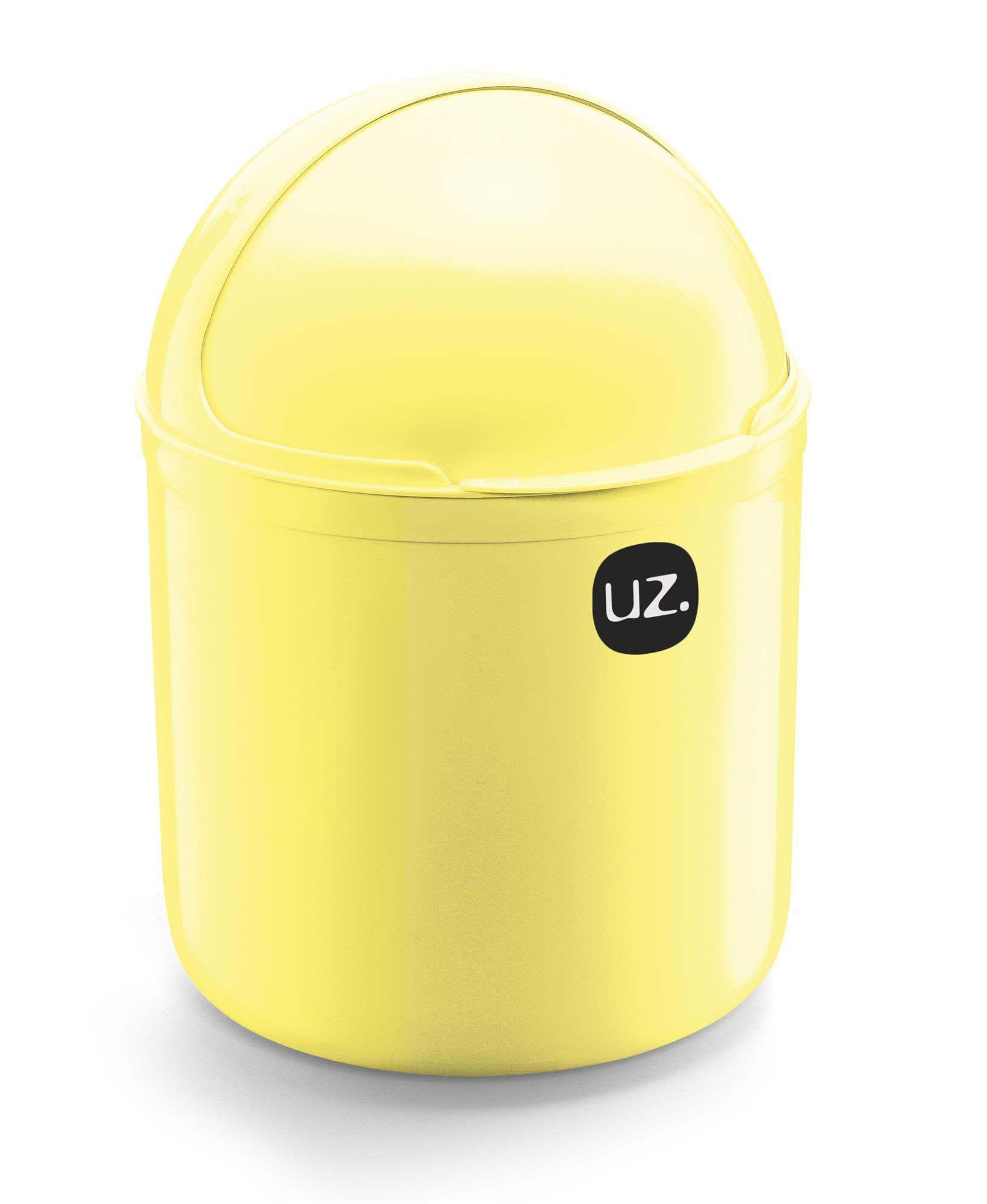 Kit 2 Peças Lixeira De Pia 4 Litros e Porta Detergente 500ml UZ Amarelo
