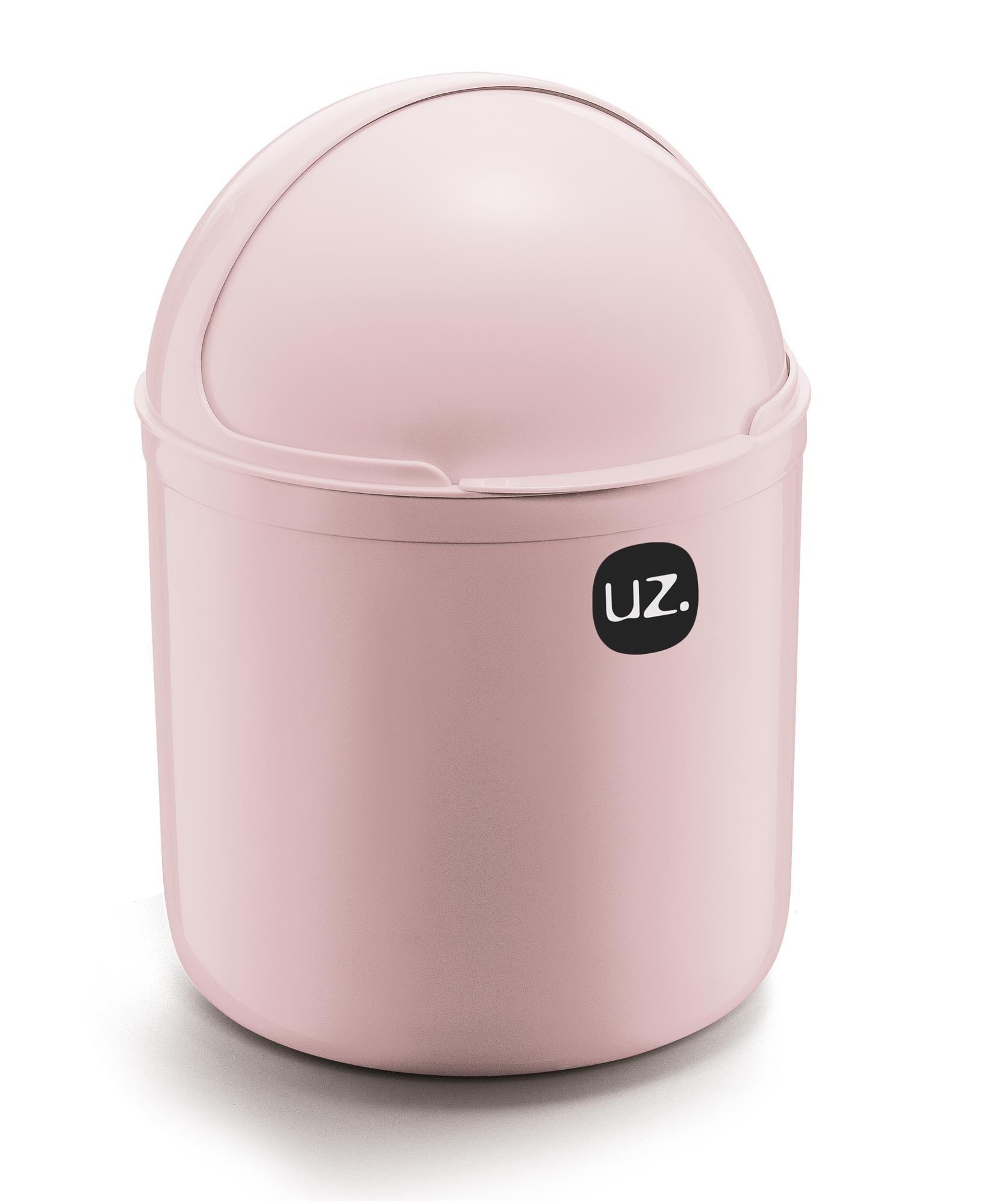 Kit 2 Peças Lixeira De Pia 4 Litros e Porta Detergente 500ml UZ Rosa