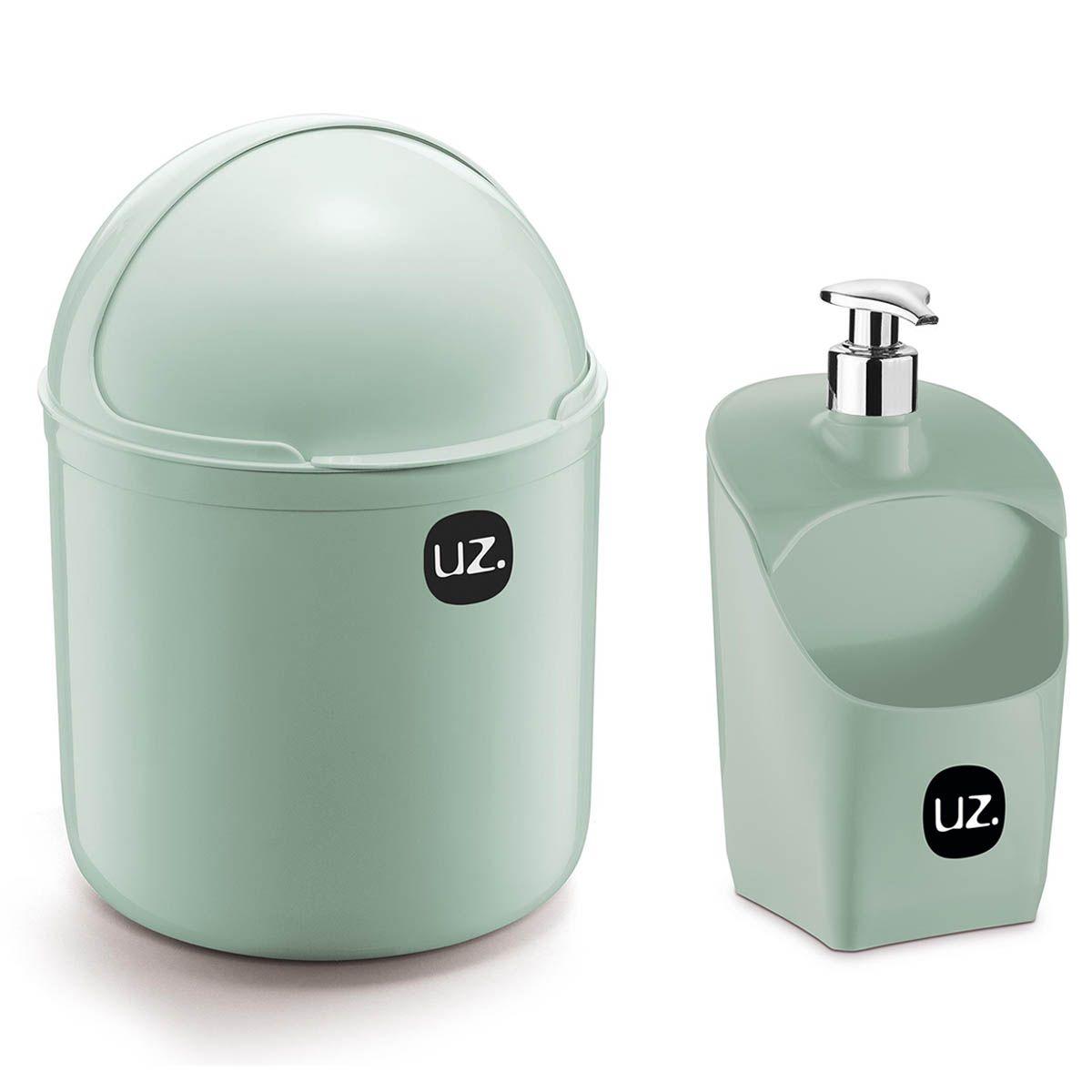 Kit 2 Peças Lixeira De Pia 4 Litros e Porta Detergente 500ml UZ Verde Menta
