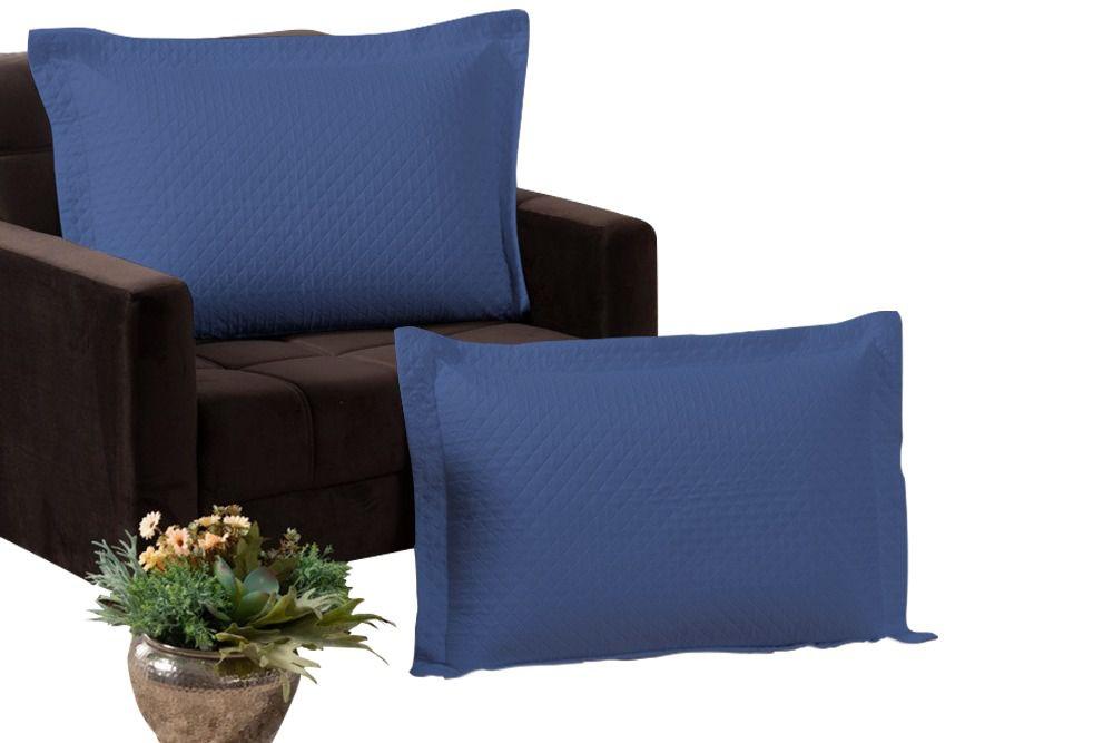 Kit 2 Porta Travesseiros Percal 180 Fios 100% Algodão Matelados em Linha Amorata Azul