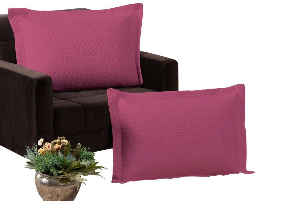 Kit 2 Porta Travesseiros Percal 180 Fios 100% Algodão Matelados em Linha Amorata Pink