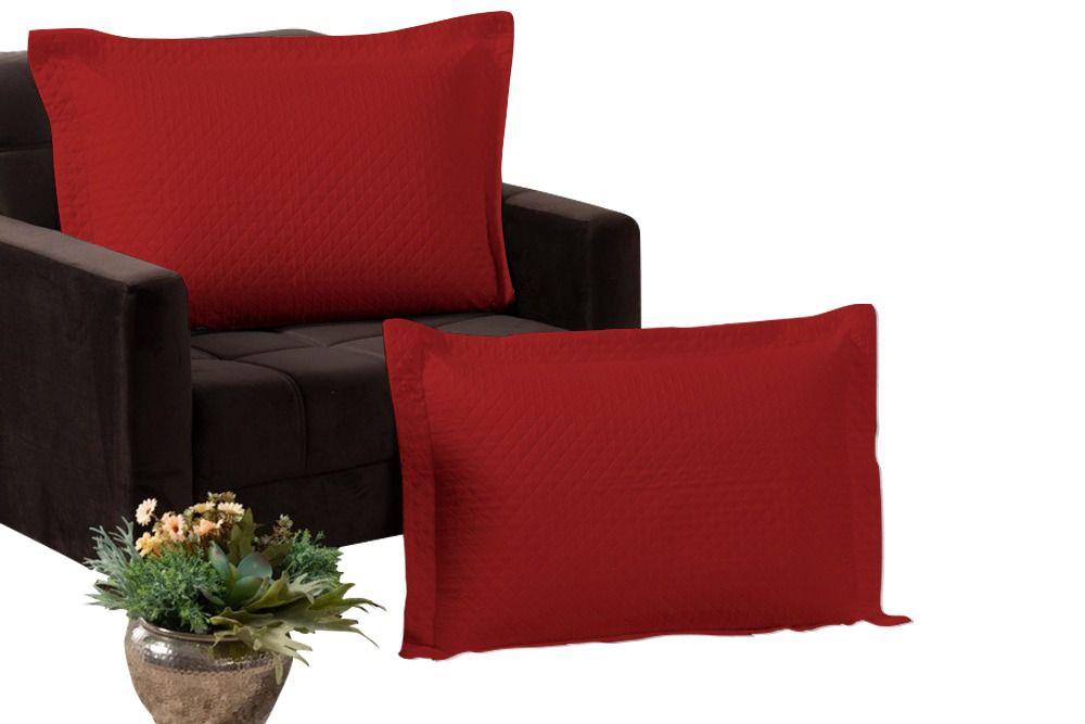 Kit 2 Porta Travesseiros Percal 180 Fios 100% Algodão Matelados em Linha Amorata Vermelho