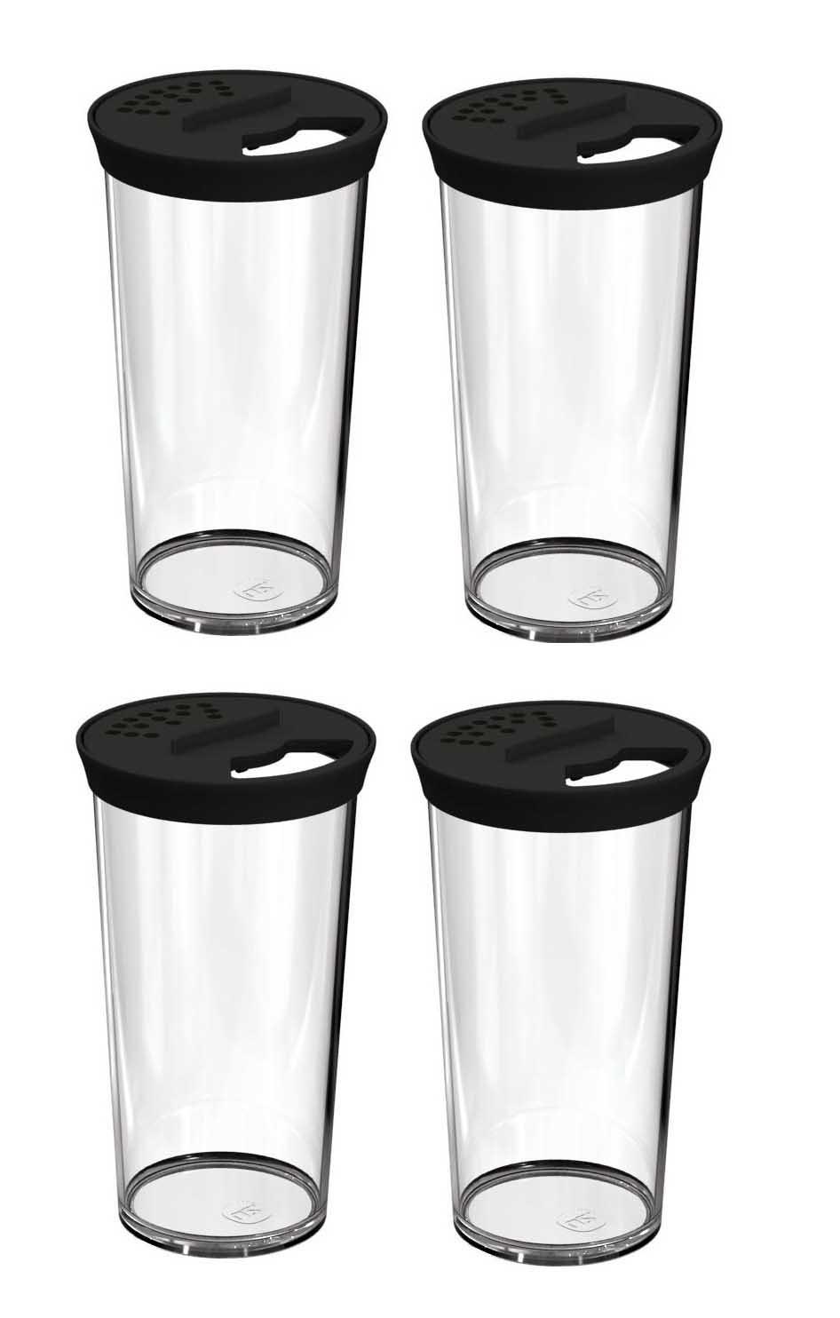 Kit 4 Farinheiros Porta Condimentos 500ml Plástico Uz Preto