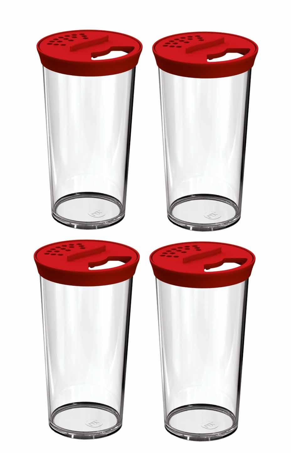 Kit 4 Farinheiros Porta Condimentos 500ml Plástico Uz Vermelho