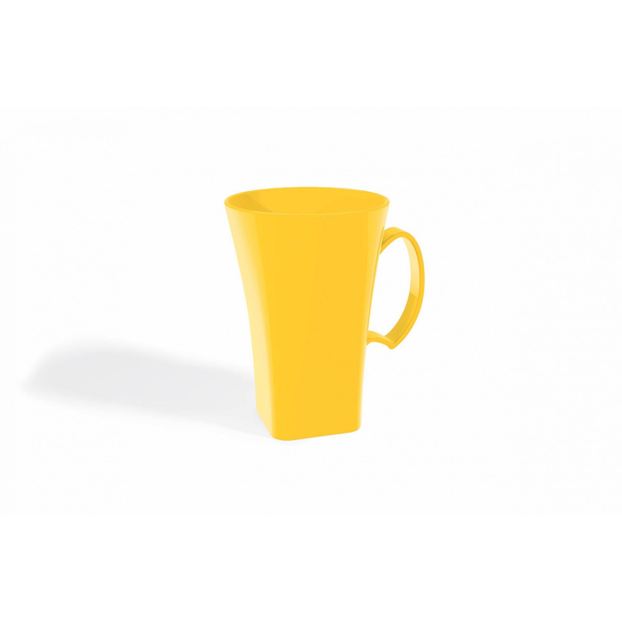 Kit 6 Canecas Capuccino 400ml Plástico Uz Utilidades Amarelo