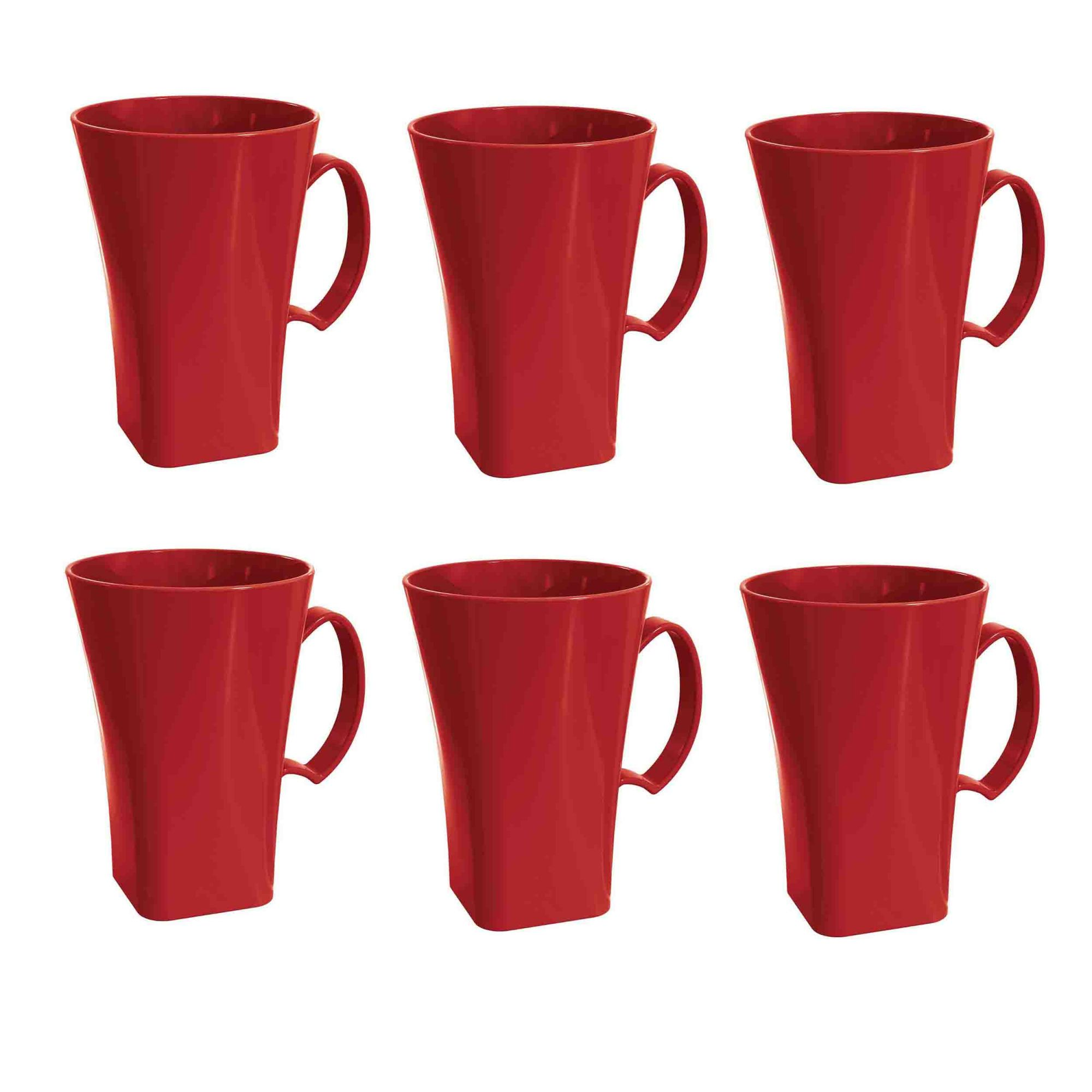 Kit 6 Canecas Capuccino 400ml Plástico Uz Utilidades Vermelho