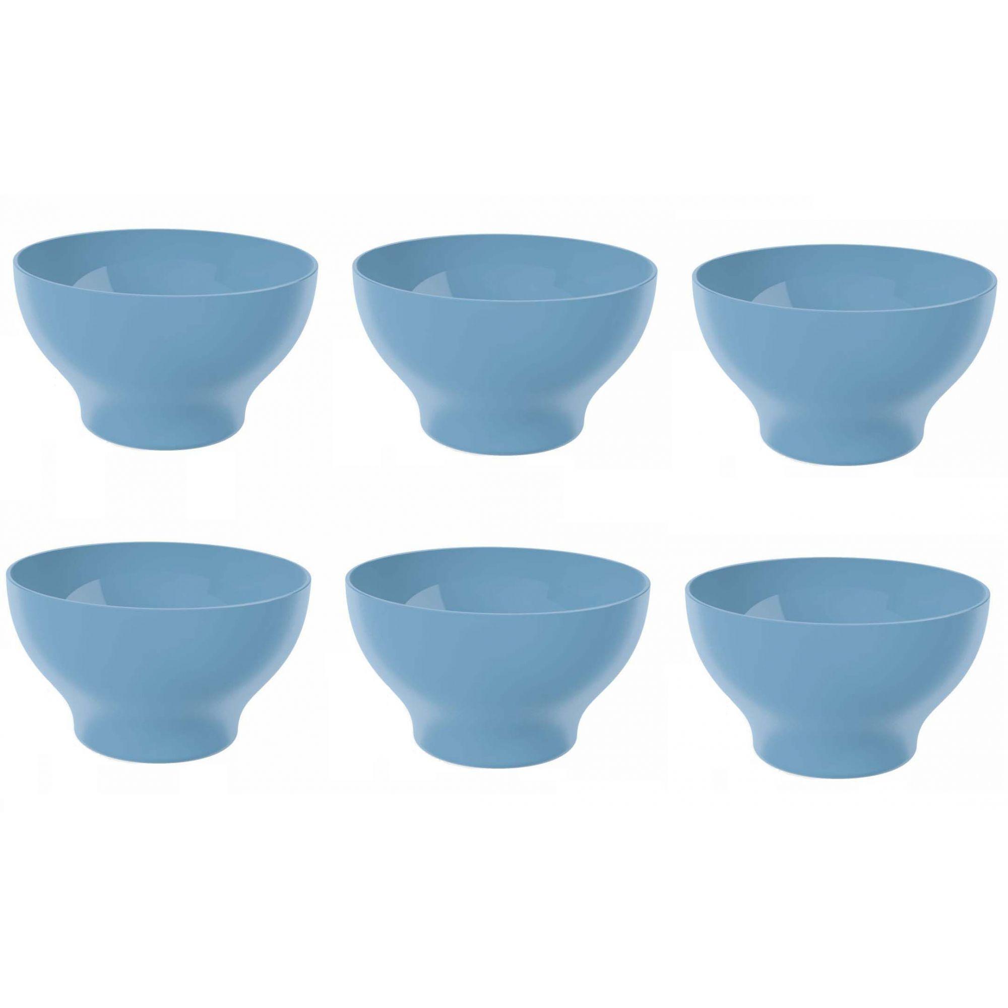 Kit 6 Cumbucas Tigela 500ml Plástico UZ Utilidades Azul