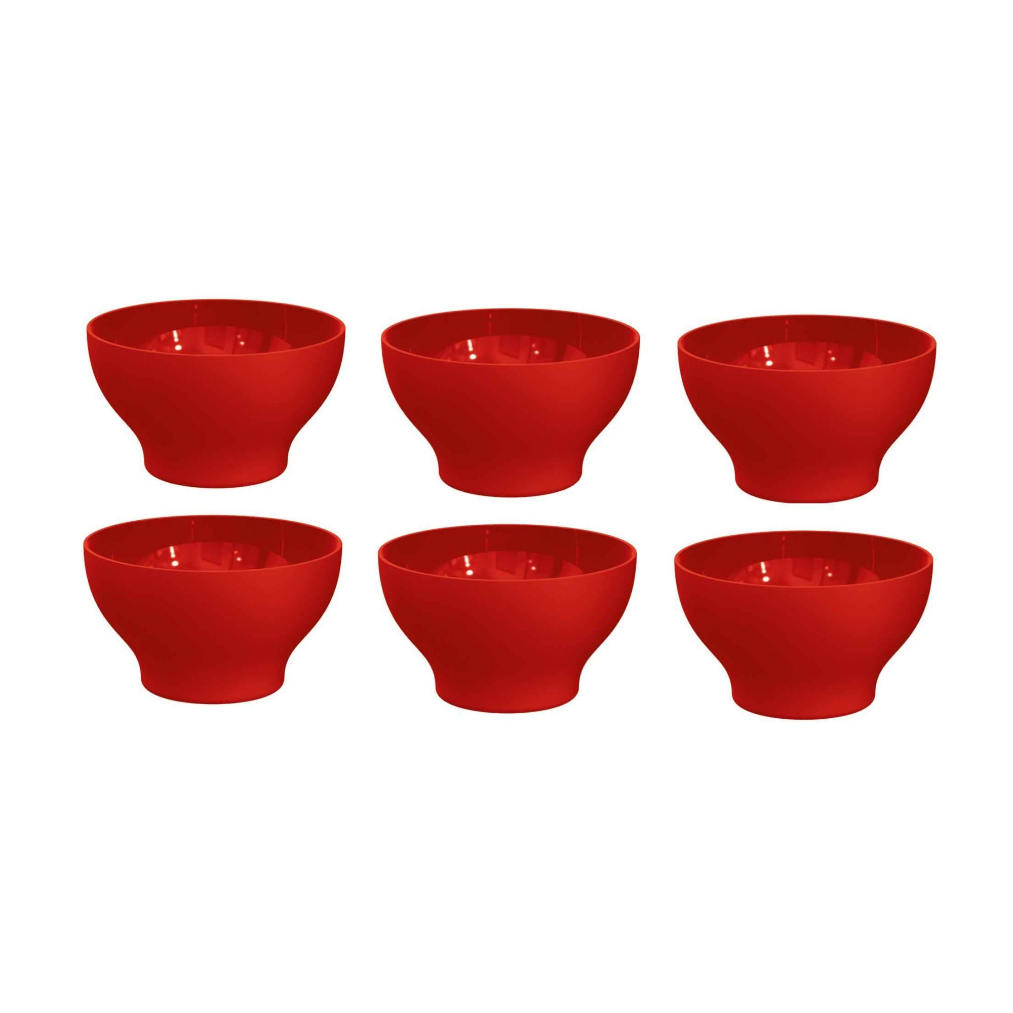 Kit 6 Cumbucas Tigela 500ml Plástico UZ Utilidades Vermelho