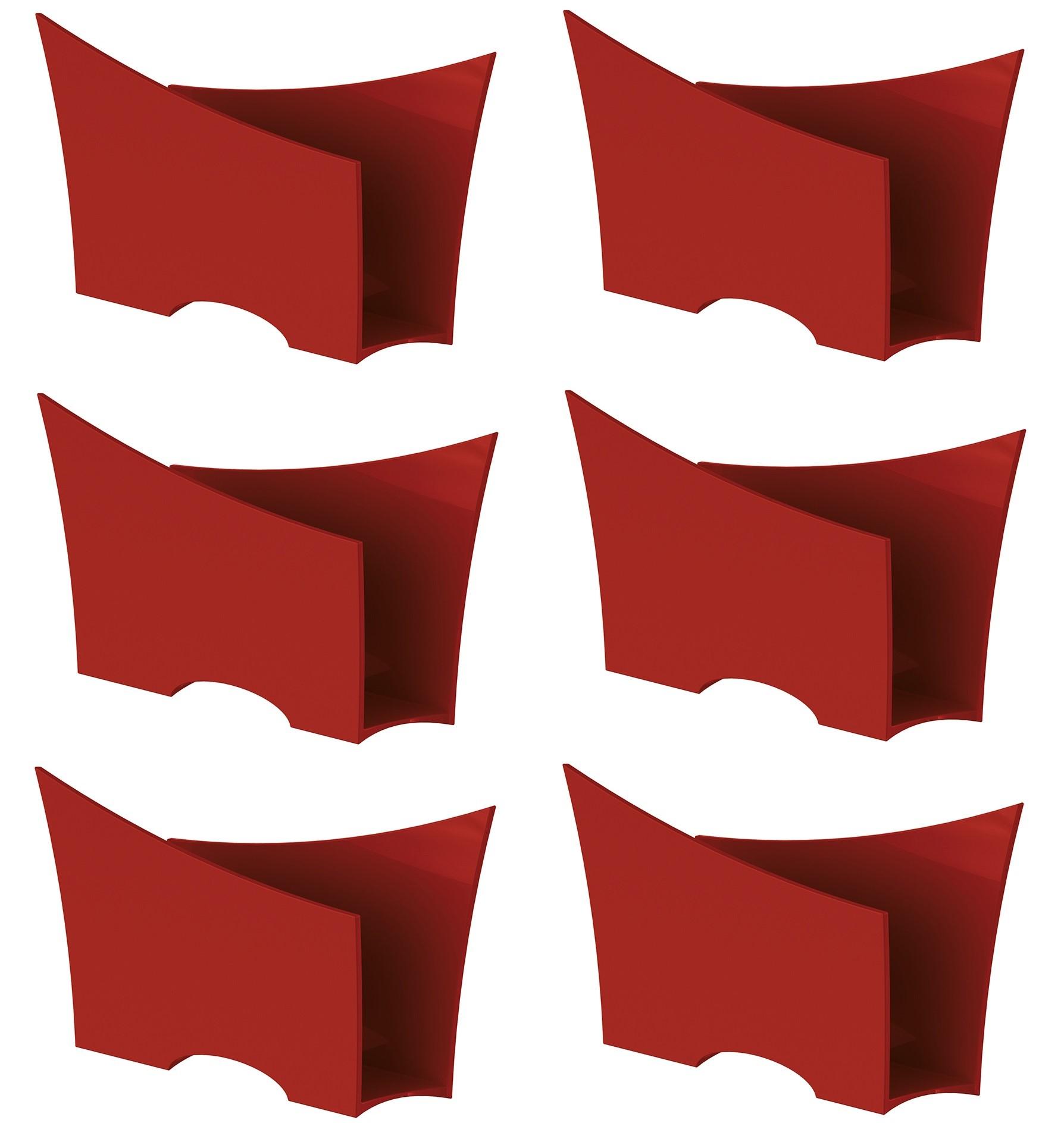Kit 6 Porta Guardanapo Quadrado Plástico UZ Vermelho