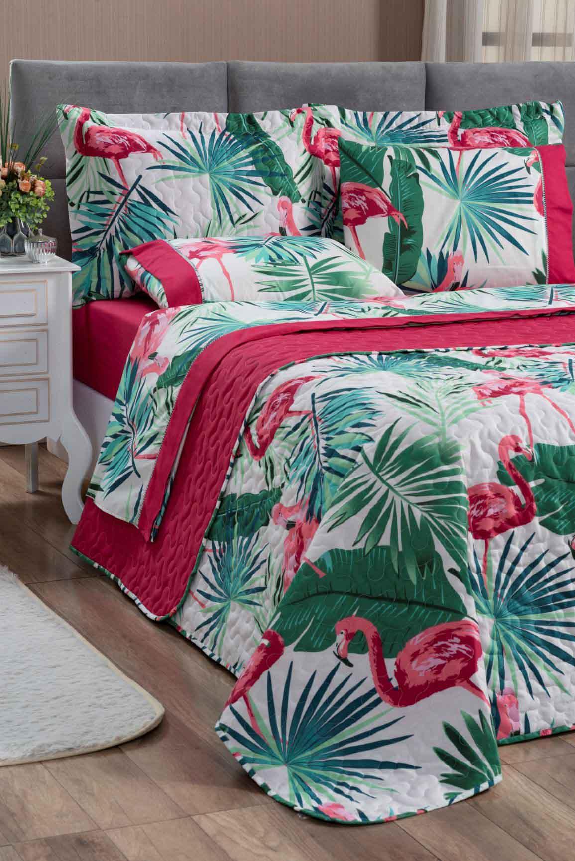 Kit Cobre Leito Colcha King 100% Costurada Dupla Face 3 Peças Naturale Flamingo Rosa