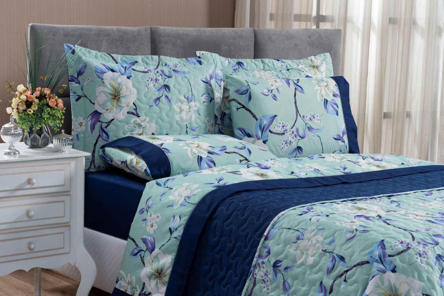 Kit Cobre Leito Colcha King 100% Costurada Dupla Face 3 Peças Naturale Flower Azul