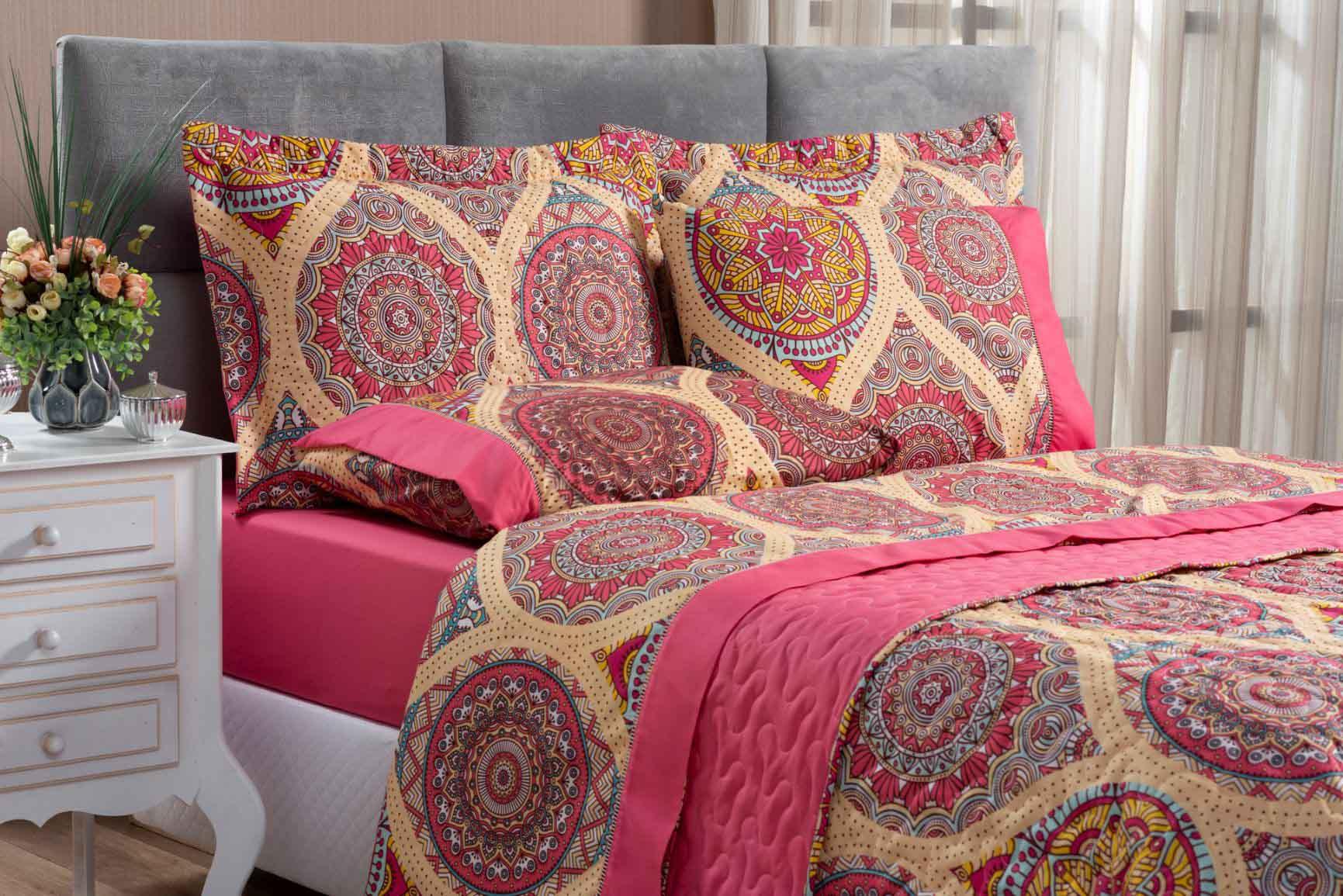 Kit Cobre Leito Colcha King 100% Costurada Dupla Face 3 Peças Naturale Mandala Rosa
