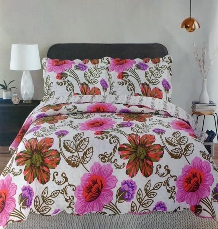 Kit Cobre Leito Colcha Queen 100% Costurada 3 Peças Romma Têxtil Arte - E11