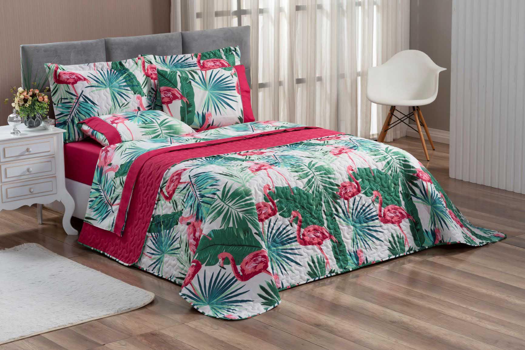 Kit Cobre Leito Colcha Queen 100% Costurada Dupla Face 3 Peças Naturale Flamingo Rosa