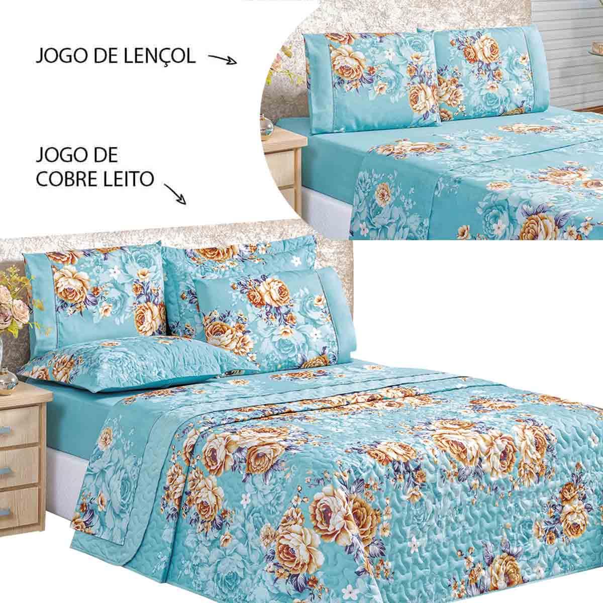 Kit Cobre Leito E Jogo de Cama Lençol Queen 7 Peças Naturale