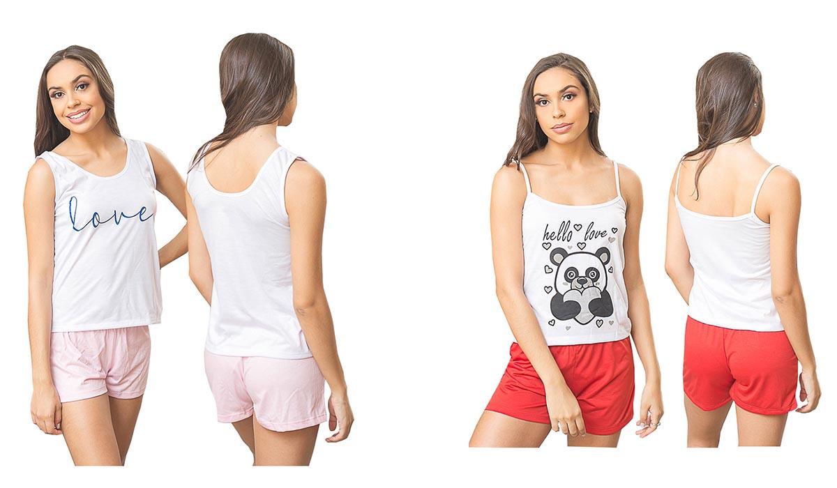 Kit Com 5 Pijamas Adulto Feminino Short Doll Loren Atacado