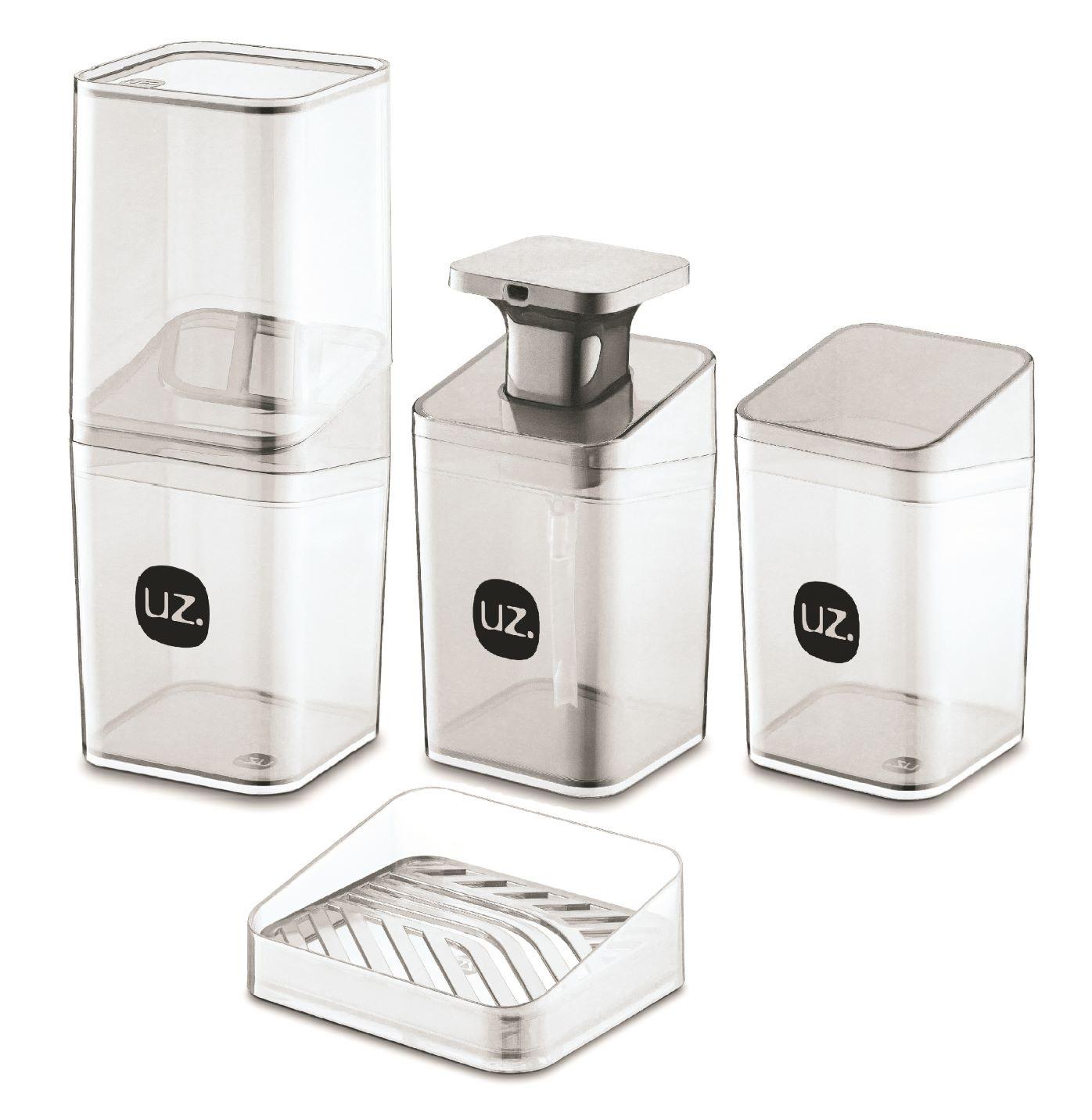 Kit Higiene Banheiro 4 Pçs Slim Porta Escova UZ Transparente