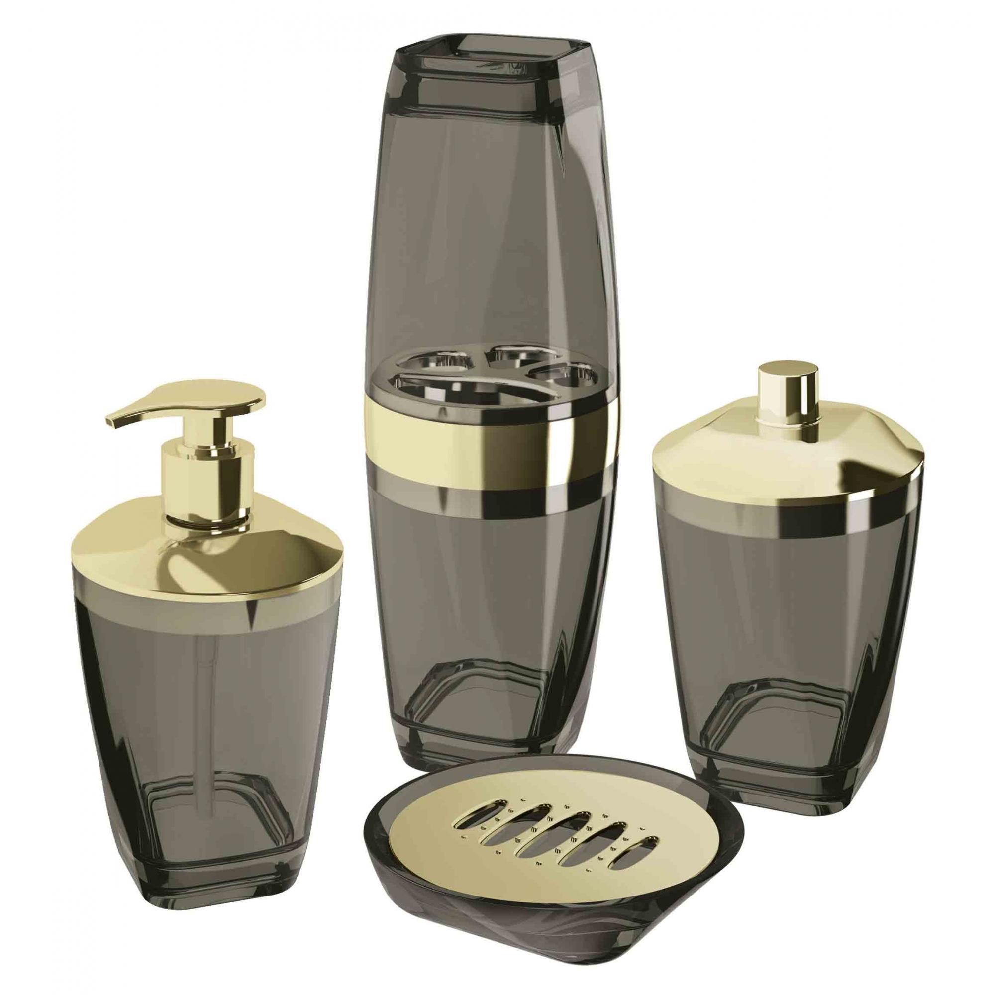 Kit Higiene Banheiro 4 Peças Porta Escova Sabonete Líquido Porta Algodão E Saboneteira Premium Uz