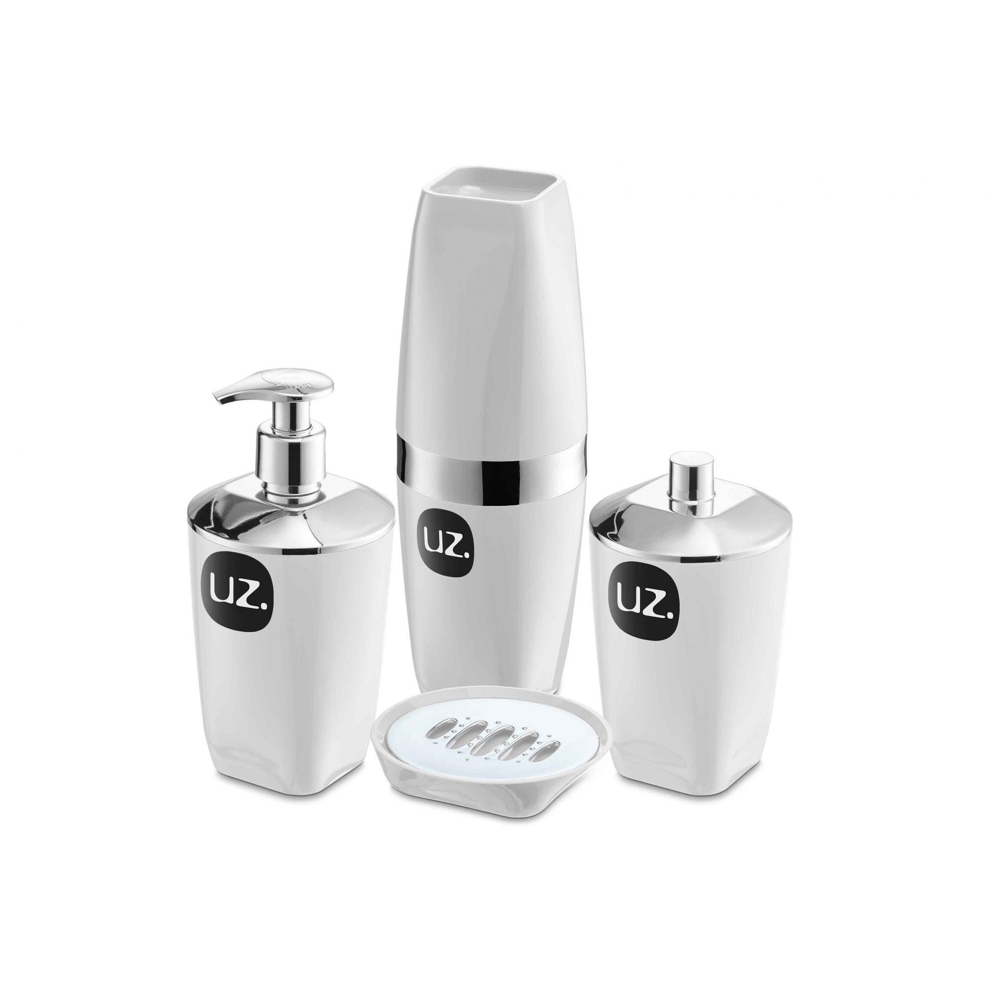 Kit Higiene Banheiro 4 Peças Porta Escova Sabonete Líquido Porta Algodão E Saboneteira Premium Uz Branco/Prata