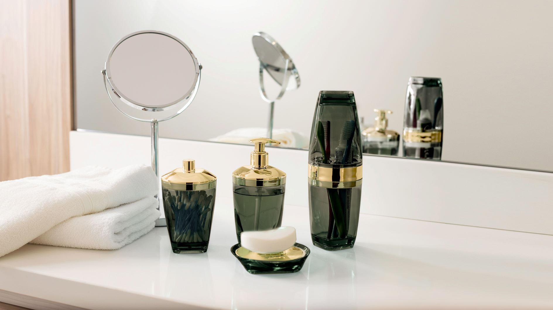 Kit Higiene Banheiro 4 Peças Porta Escova Sabonete Líquido Porta Algodão E Saboneteira Premium Uz Preto/Dourado