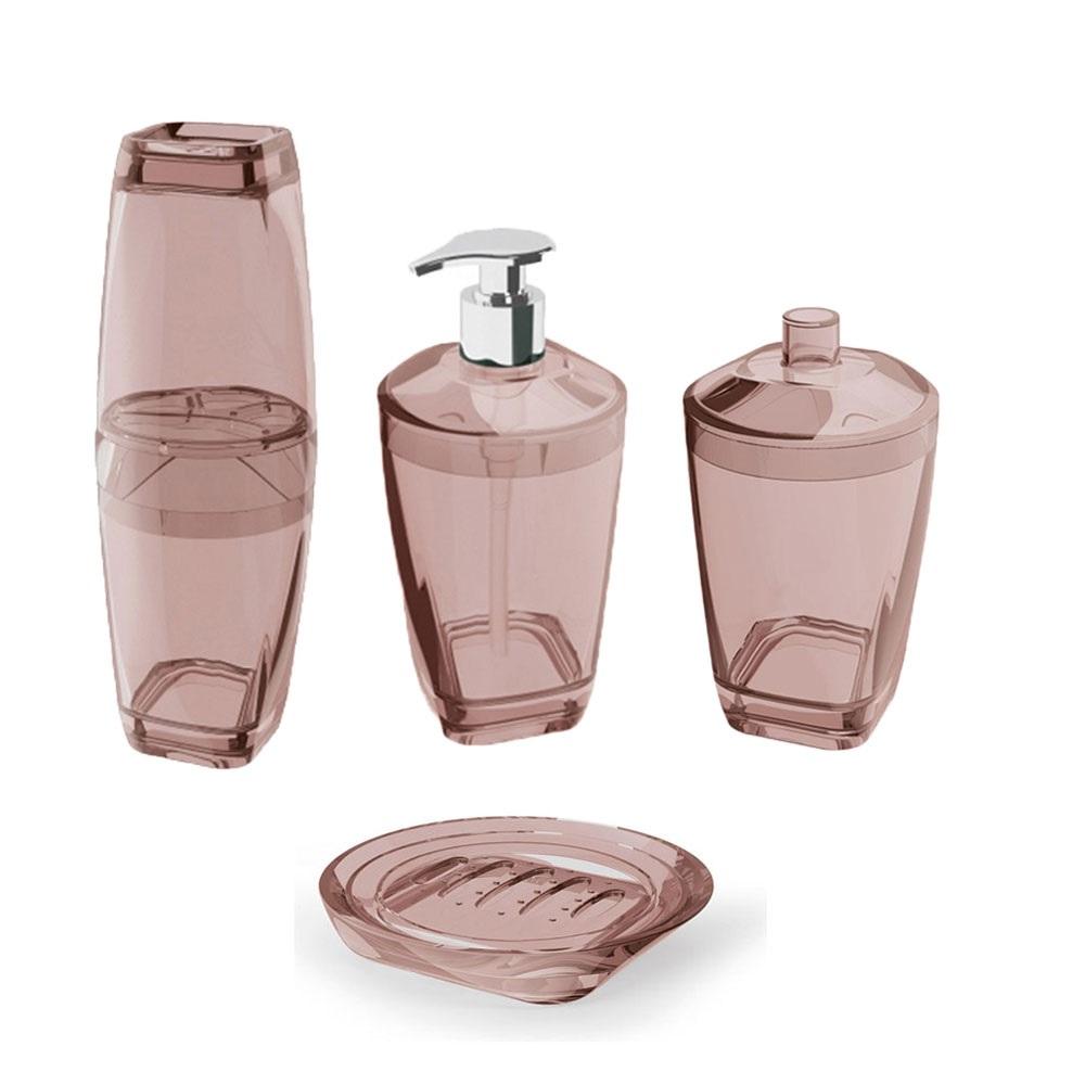 Kit Higiene Banheiro 4 Peças Porta Escova Sabonete Líquido Porta Algodão E Saboneteira Premium Uz Rosa