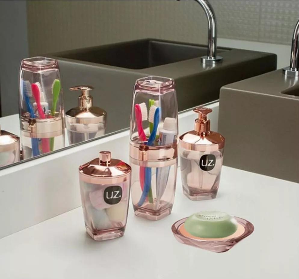 Kit Higiene Banheiro 4 Peças Porta Escova Sabonete Líquido Porta Algodão E Saboneteira Premium Uz Rosê Gold